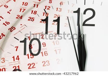 Composite of Calendar and Clock Face - stock photo
