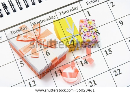 Composite of Calendar and Gift Boxes
