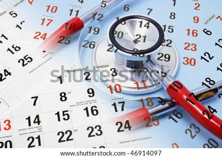 Composite of Calendar and Stethoscope - stock photo