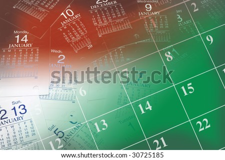 Composite of Calendars in Red and Green Tone