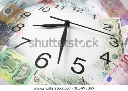Composite of Clock and Bank Notes - stock photo