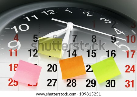 Composite of Clock and Calendar Page - stock photo