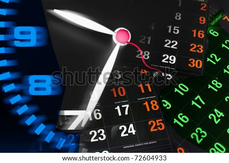 Composite of Clock and Calendar Pages - stock photo