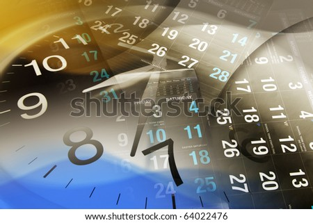 Composite of Clock and Calendars - stock photo