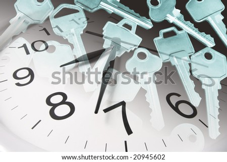 Composite of Clock and Keys - stock photo