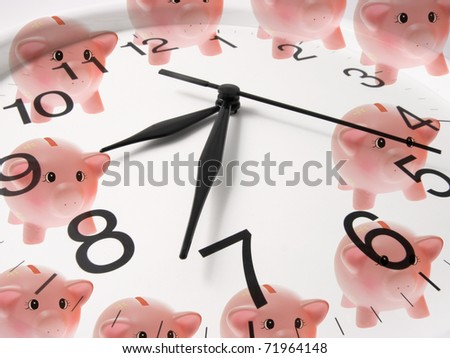 Composite of Clock and Piggy Banks - stock photo