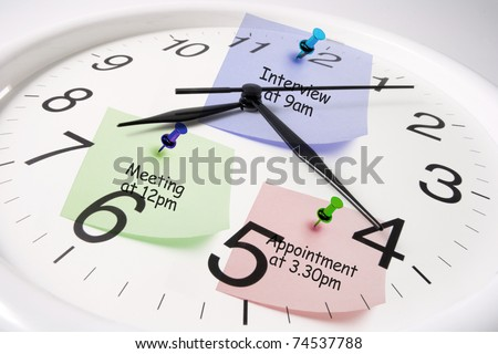 Composite of Clock and Post it Notes - stock photo