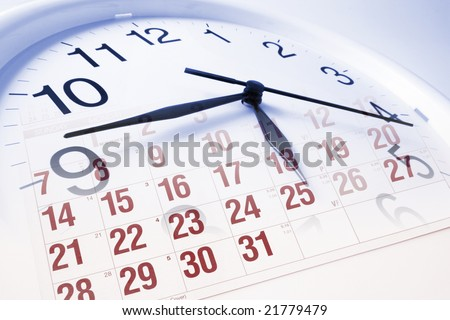 Composite of Clock Face and Calendar - stock photo