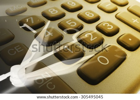 Composite of Clock Hands and Calculator Keys - stock photo