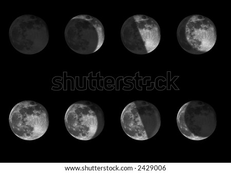 Composite of eight images of the moon showing areas in shadow during the phases of the moon - stock photo