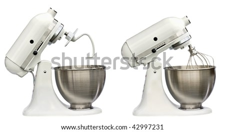 Composite of electric mixers with whip and bread hook isolated on white background. - stock photo