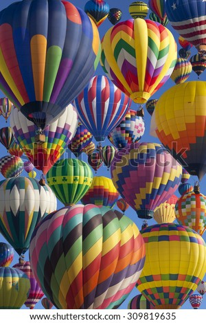 Composite of hot air balloons at the New Jersey Ballooning Festival in Whitehouse Station, New Jersey  - stock photo