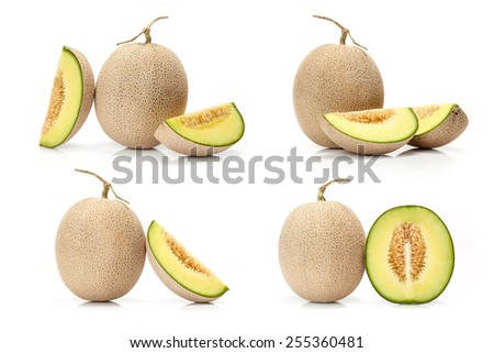 composite of Japanese green melon fruit  isolated on white background - stock photo