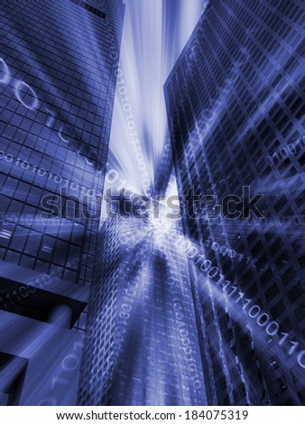 Composite of Los Angeles with binary code  - stock photo