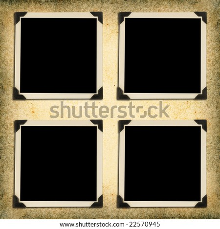 Composite of photo album page on textured paper with drop shadows. - stock photo