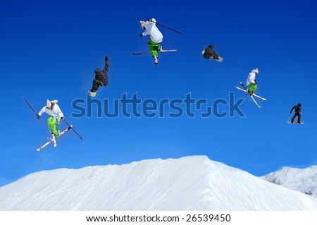 composite of three shots of a skier and a snowboarder  pjumping. The skier performs a full turn with crossed skis and the snow boarder executes a half turn