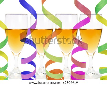 Composite of Wineglasses and Streamers - stock photo