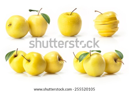 Composite of yellow golden apple isolated on white background - stock photo