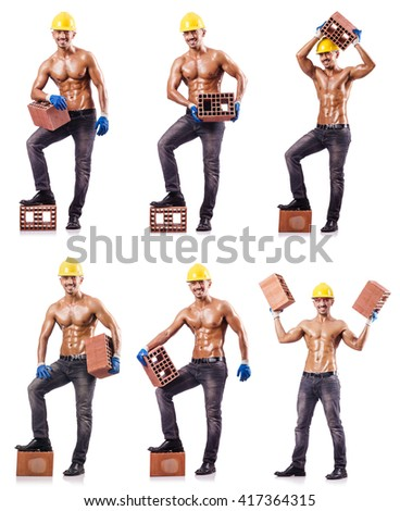 Composite photo of naked man with bricks - stock photo