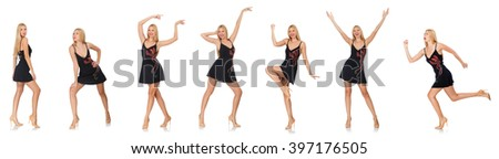 Composite photo of woman in various poses