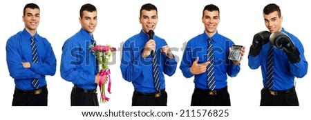 Composite photos of a young businessman in action - stock photo