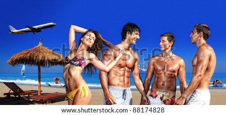 Composite picture of  friends on the beach - Summer ravel concept - stock photo