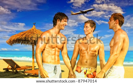 Composite picture of  Men on the beach - Summer ravel concept - stock photo