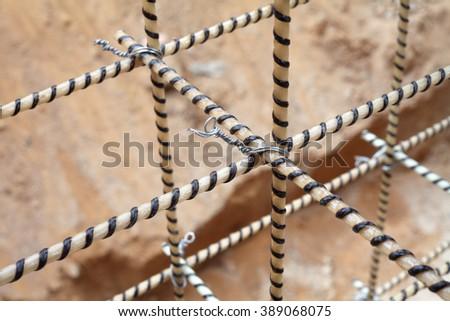 Composite Rebars. Reinforcing cage. Fiberglass reinforcement.  - stock photo