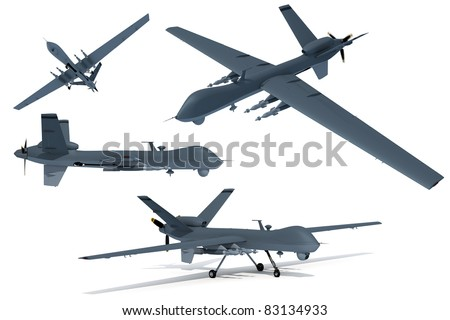 Composite renders of a 3D model of an unmanned aerial vehicle, or drone. - stock photo