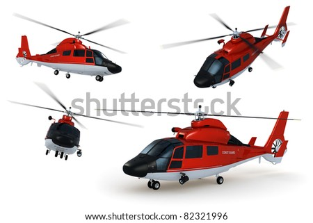 Composite renders of a detailed 3D model of a rescue helicopter against white background.