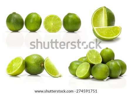 composite with Green lime isolated on white background - stock photo