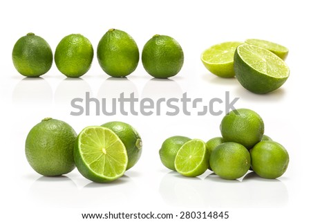 composite with Green lime isolated on white background