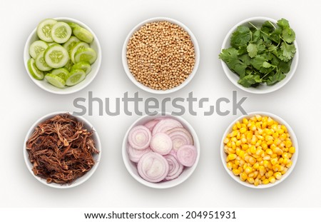 composite with many different varieties of ingredients  - stock photo