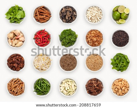 composite with many different varieties of ingredients, Asian and Thai Kitchen