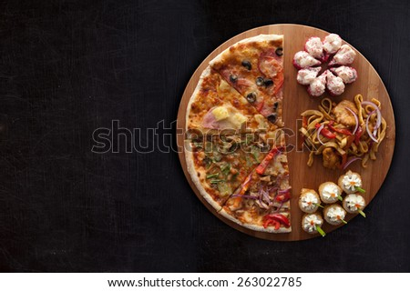 composition at plate by pizza and sushi for fast food illustration  - stock photo