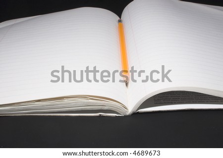 Composition Book and Pencil - stock photo
