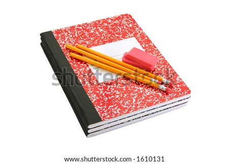 Composition book, pencils and erasers - stock photo