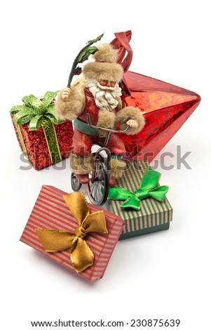 composition Christmas decorations with Santa Claus Toy