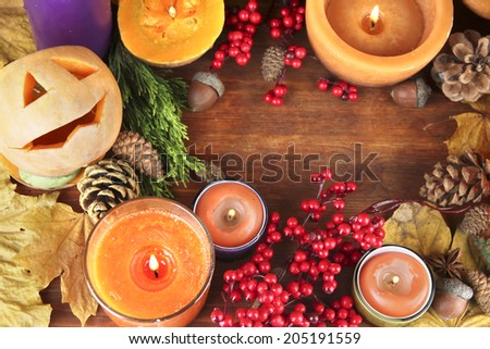 Composition for Halloween with on wooden table close-up - stock photo