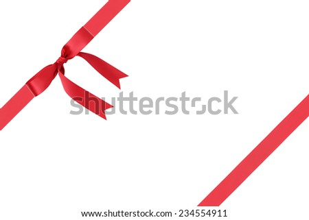 composition for packaging with classic red ribbon bow, isolated on white - stock photo