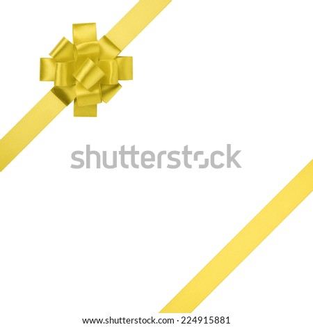 composition for present or gift with yellow ribbon bow, isolated on white - stock photo