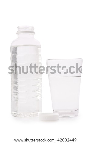 Composition from a transparent plastic bottle and a glass glass with water - stock photo