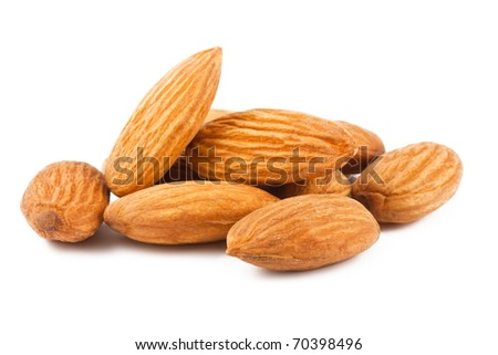Composition from almond nuts isolated on white background - stock photo