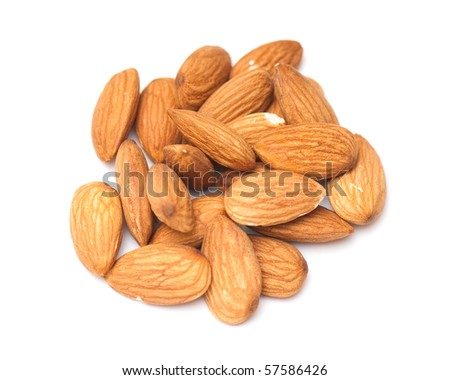 Composition from Almond nuts on the white isolated background - stock photo