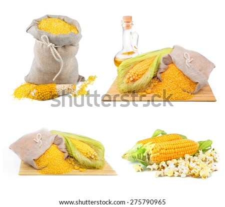 Composition from corn, oil and maize flour in flax sack on the mat isolated on white background, set - stock photo