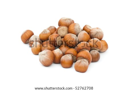 Composition from nuts on the white isolated background