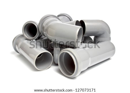 composition from plastic sewer pipes, isolated on the white - stock photo