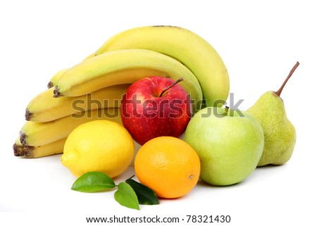 Composition from various fresh exotic fruit - stock photo