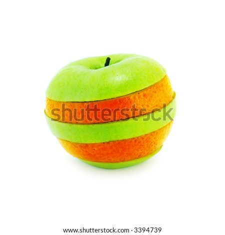 composition made from pieces of apple and orange on a white background