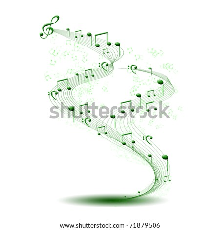 composition made of note sing against white background as symbol of music - stock photo